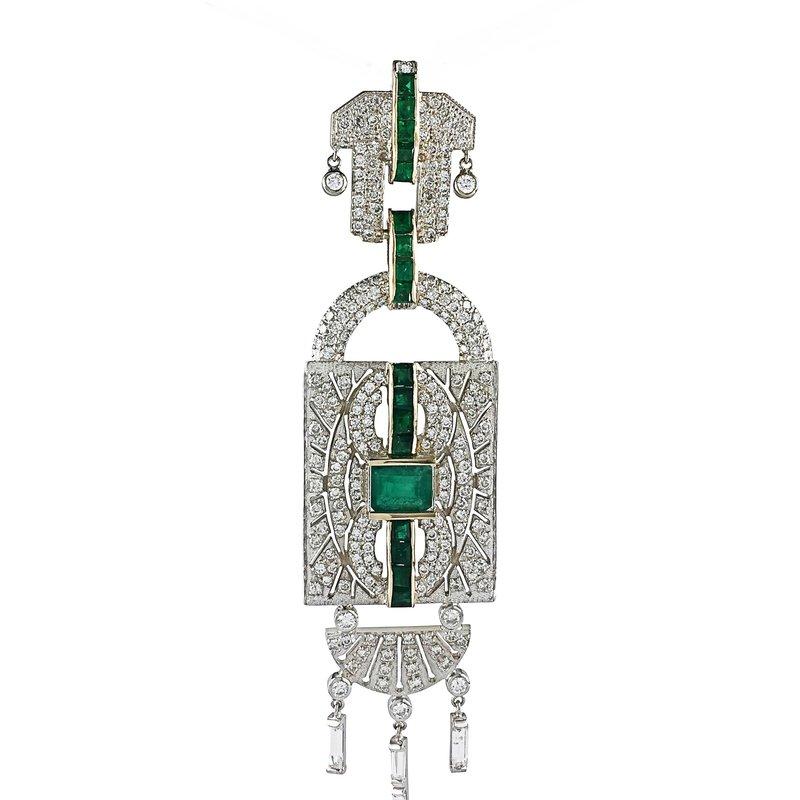 Estate Jewelry Art Deco Emerald & Diamond Pendant