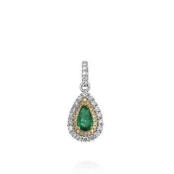 Emerald & Diamond Pendant 18K