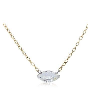 Pierced Marquise Diamond Necklace 14KY
