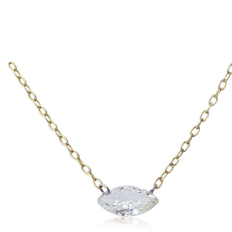 Gravity Pierced Marquise Diamond Necklace 14KY
