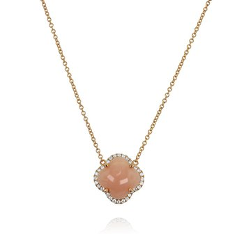 Pink Opal Flower Necklace