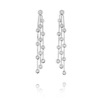 Bezel Chain Dangle Earrings 18KW