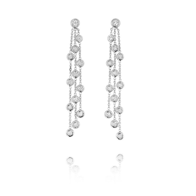 Yael Designs Bezel Chain Dangle Earrings 18KW