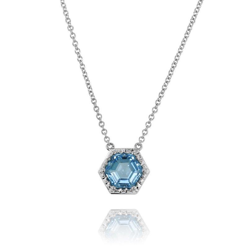 Yael Designs Hexagon Blue Topaz Necklace 14KW
