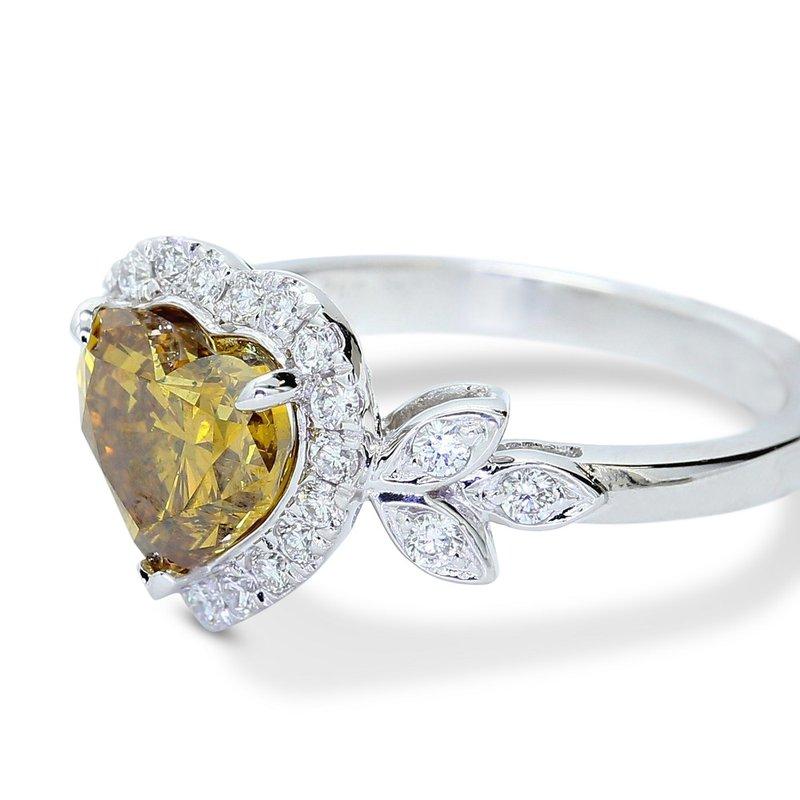London Gold Designs Fancy Heart Shape Engagement Ring 18KW