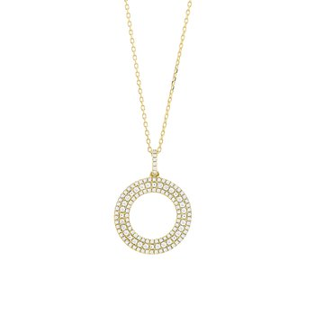 Open Diamond Circle Pendant 14KY