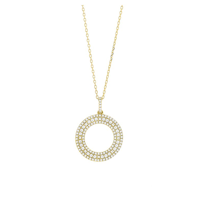 Facet Barcelona Open Diamond Circle Pendant 14KY