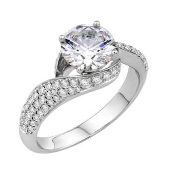 Pave Bypass Engagement Ring - Setting Only
