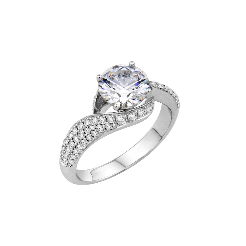 Isadora Pave Bypass Engagement Ring - Setting Only