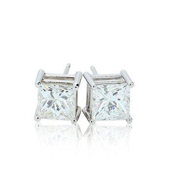 2.06ct Princess Cut Diamond Studs