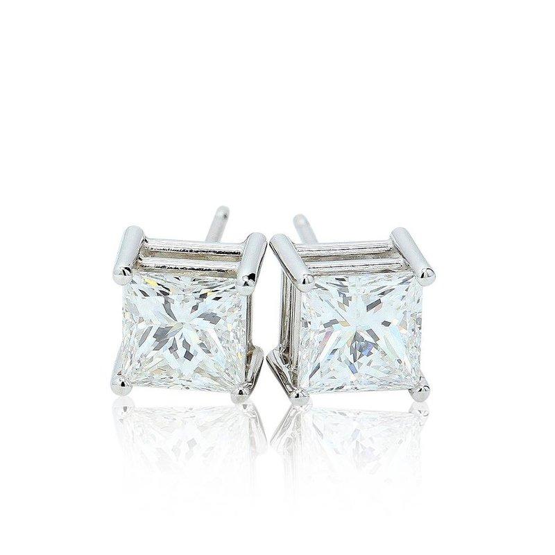 London Gold Designs 2.06ct Princess Cut Diamond Studs