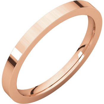 14K Rose 2mm Flat Comfort Fit Band