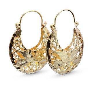 Diamond Cut Hoop Earrings 14KY