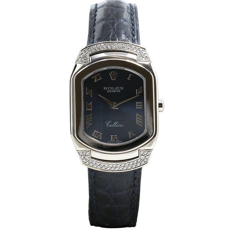 Rolex Pre-Owned Watches Cellini Cellissima 18K White Gold Blue Strap 6692/9