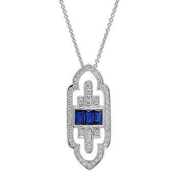 Art Deco Sapphire & Diamond Pendant