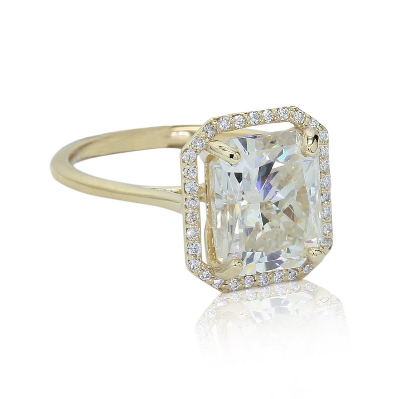 London Gold Designs 5.09 Radiant Halo Ring 14KY