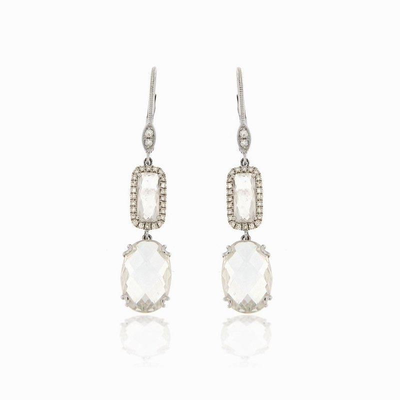 Meira T  White Topaz Drop Earrings