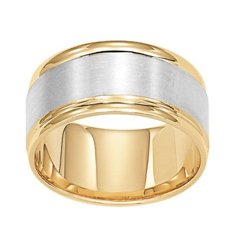14K Two-Tone (Yellow-White Gold) Comfort Fit Wedding Band