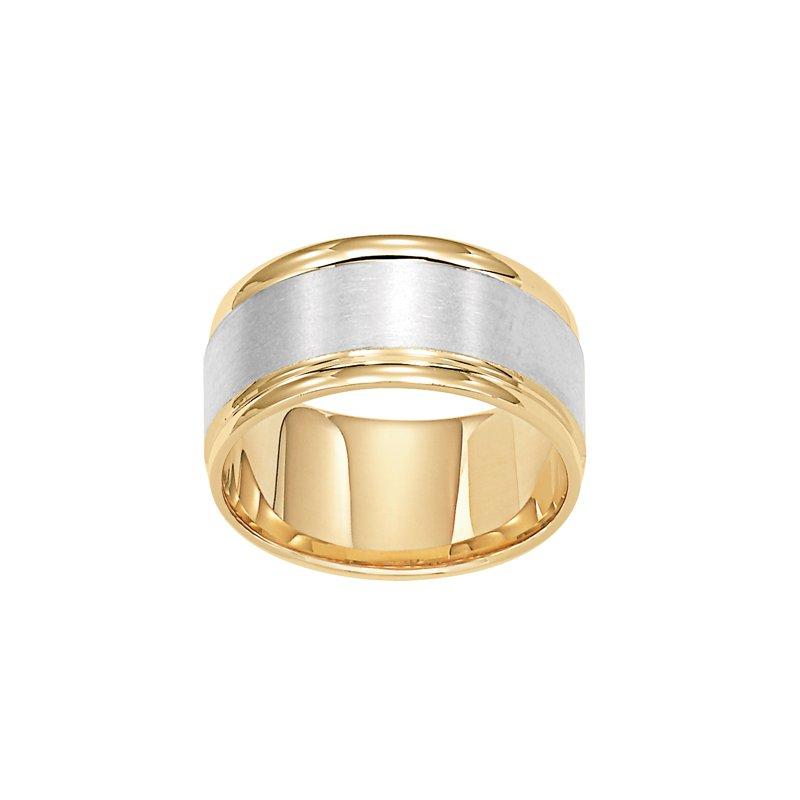 Frederick Goldman 14K Two-Tone (Yellow-White Gold) Comfort Fit Wedding Band
