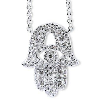 Diamond Hamsa Necklace 18KW