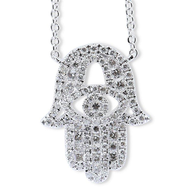 Sophia by Design Diamond Hamsa Necklace 18KW