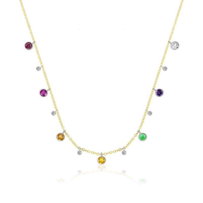 Meira T Rainbow Charm Necklace 14KY