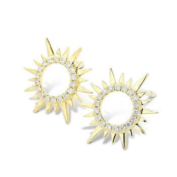 Sunburst Diamond Earrings 14KY