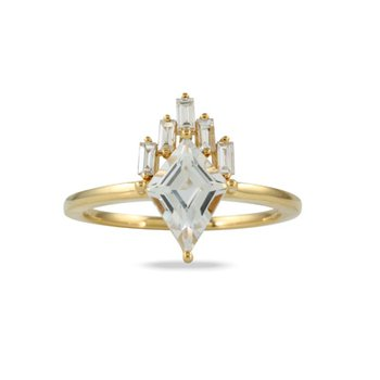 White Topaz & Diamond Ring 18KY