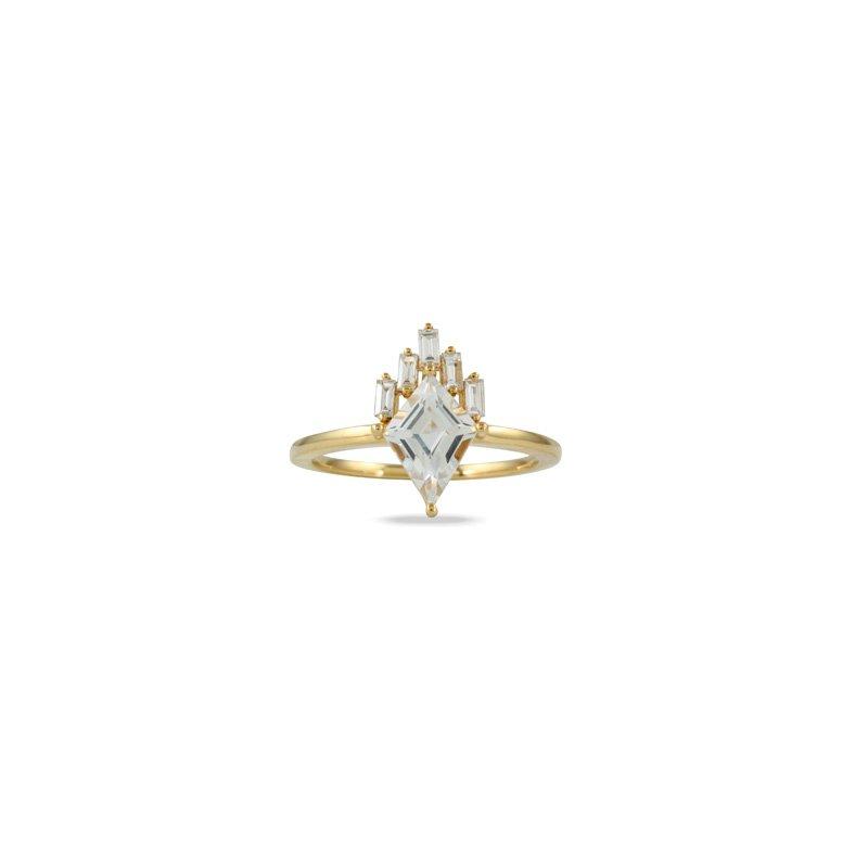 Doves White Topaz & Diamond Ring 18KY