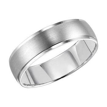 14KW Brushed/Polished Comfort Fit Engraved Wedding Band