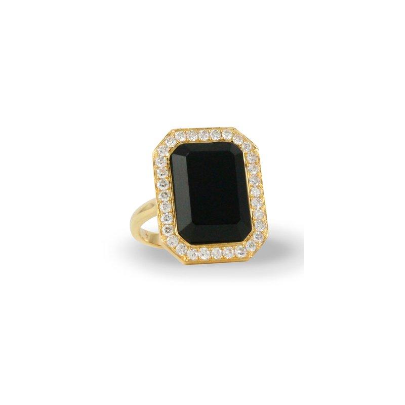 Doves Gatsby Onyx & Diamond Halo Ring 18KY