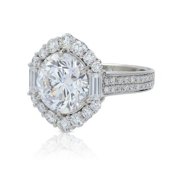 6.64ct Round Halo Ring Platinum