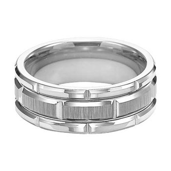 Brushed & Plush White Tungsten Engraved Wedding Band