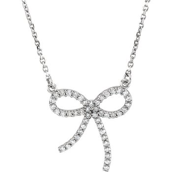 Bow Diamond Necklace 14KR