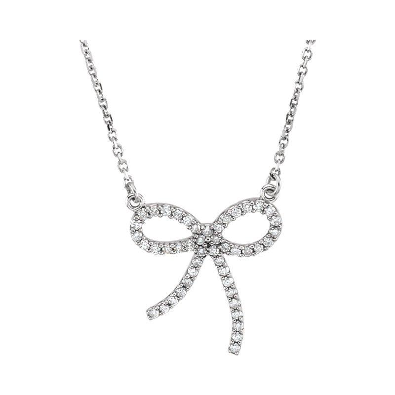 Gallery Designs Bow Diamond Necklace 14KR