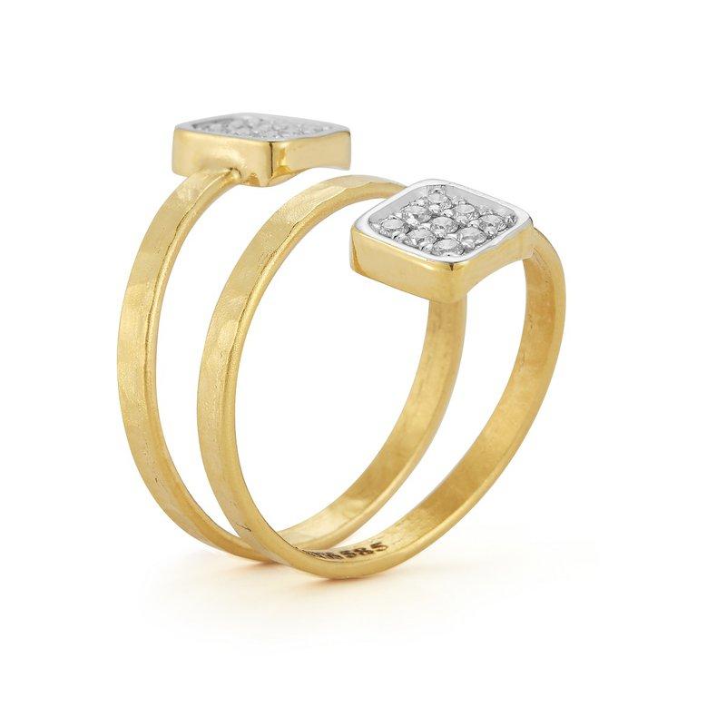 I. Reiss Spiral Square Ring 14KY