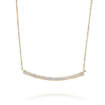 Curved Diamond Bar Necklace 18KR