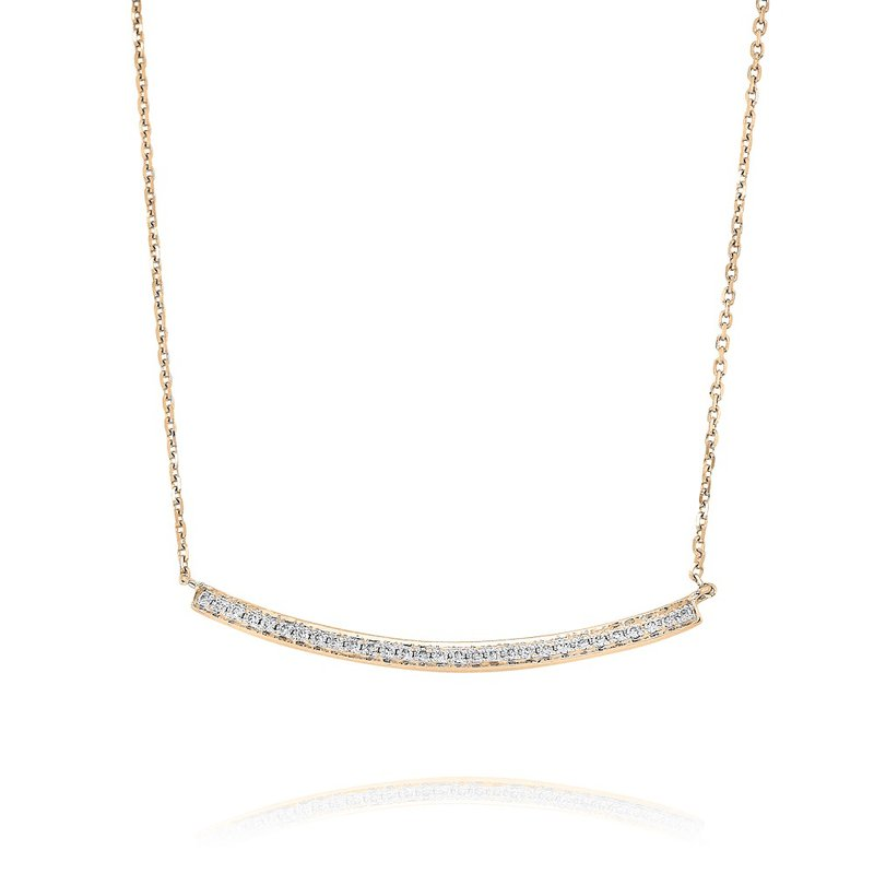 Yael Designs Curved Diamond Bar Necklace 18KR
