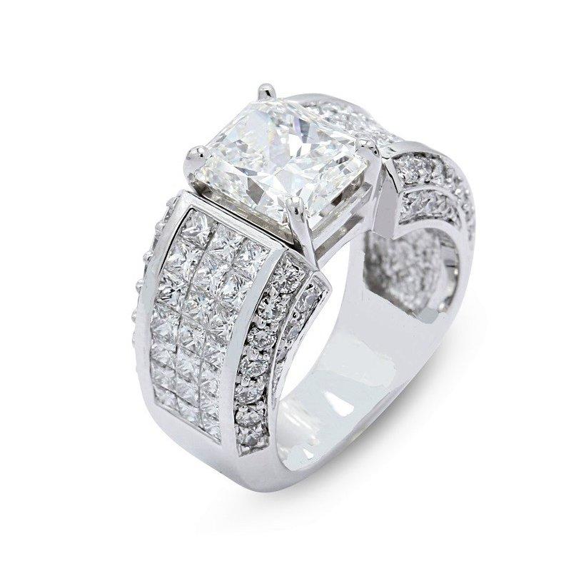 London Gold Designs 4.00 Radiant Cut Diamond Ring 18KW