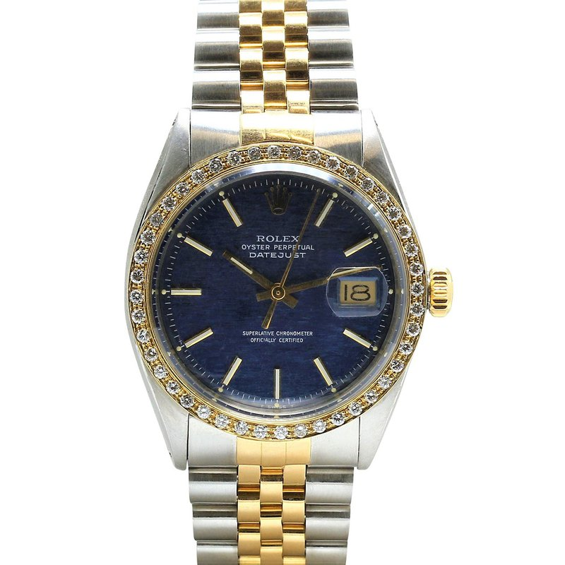 Rolex Pre-Owned Watches Vintage Datejust 18KY & Steel Blue Dial 1601