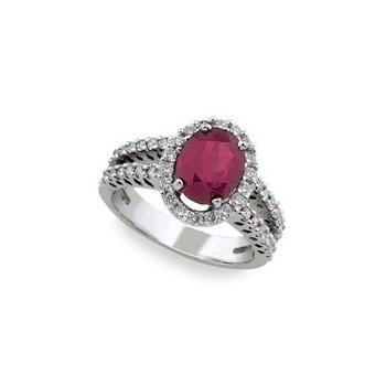 Ruby & Diamond Halo Ring 14KW