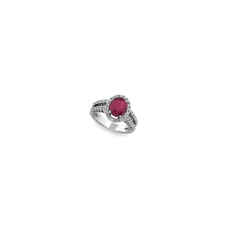 London Gold Designs Ruby & Diamond Halo Ring 14KW