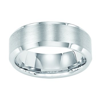 8MM Bevel White Tungsten Engraved Wedding Band