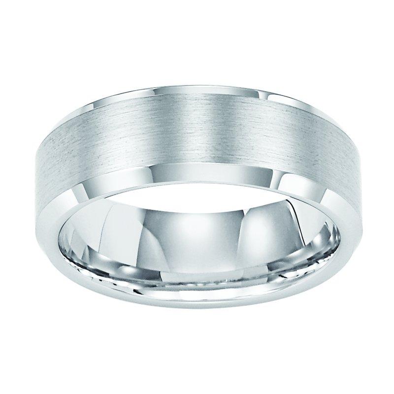 Frederick Goldman 8MM Bevel White Tungsten Engraved Wedding Band