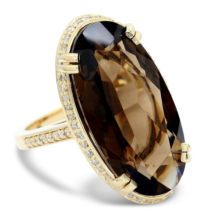 Daniels Designs Oval Smokey Quartz Halo Ring