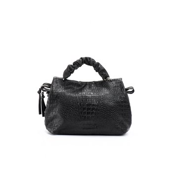 Nora Satchel Black Crocodile