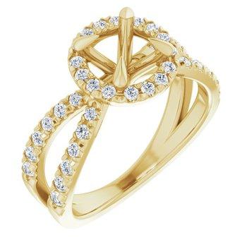 Split Halo Engagement Ring Setting 14KY