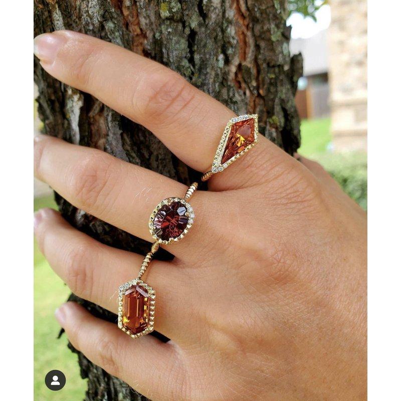 Yael Designs Long Hexagon Garnet Ring 14KY