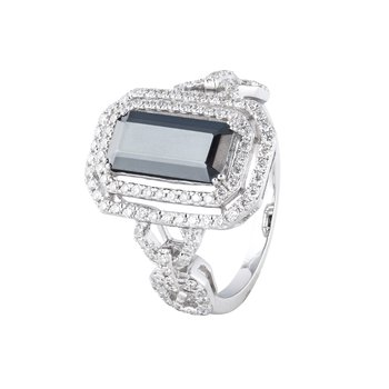 Hematite Diamond Halo Ring