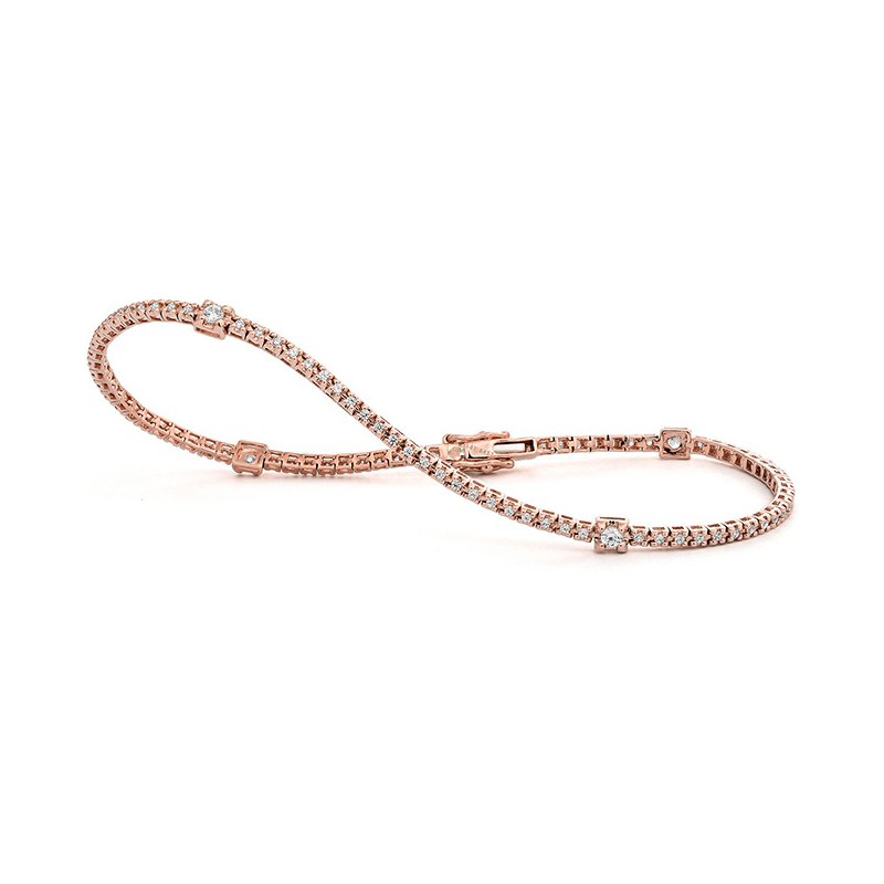 Facet Barcelona Rose Gold Stations Tennis Bracelet
